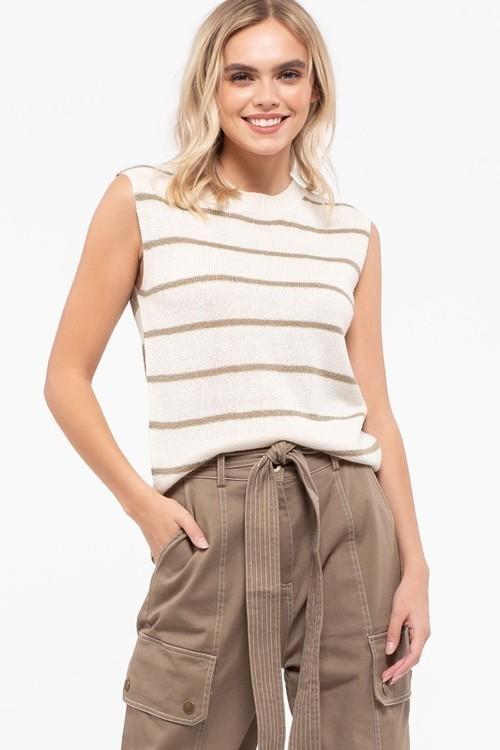 Sophia Striped Sleeveless Pullover Olive
