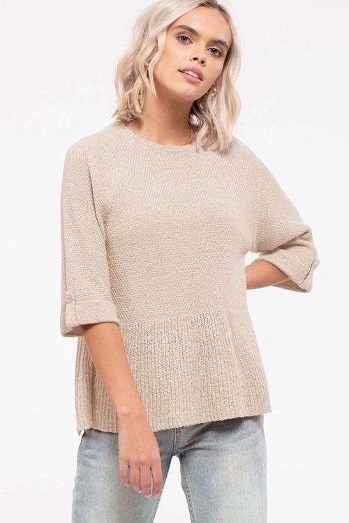Farrah Flounce Sweater Top Cream
