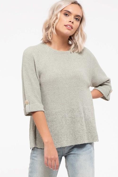 Farrah Flounce Sweater Top Sage