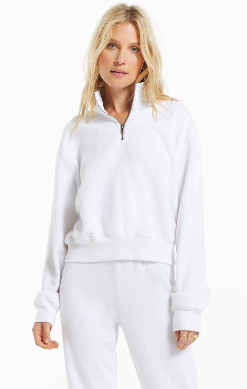 Half Zip Sweatshirt White