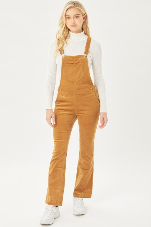 Corduroy Bell Flare Overalls Camel