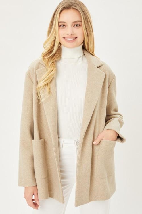 Fleece Belted Coat Oatmeal
