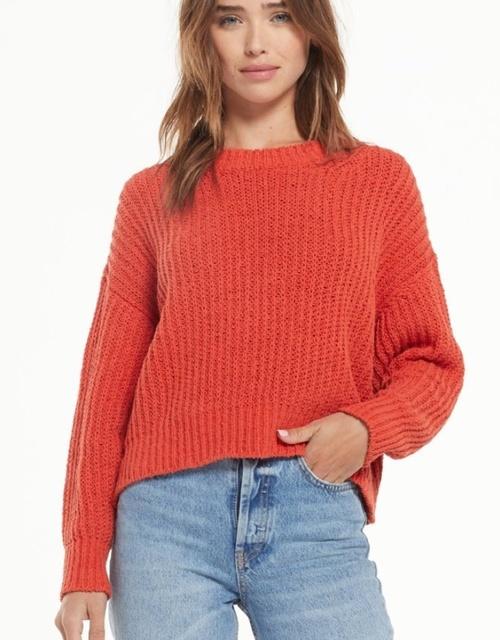 Harlow Open Knit Sweater Chili