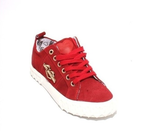 Red Suede Logo Lace Platform Sneakers