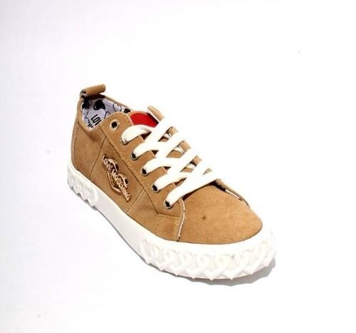 Beige Suede Logo Lace Platform Sneakers