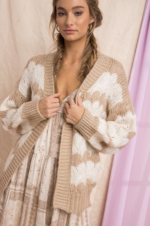 Striped Sweater Cardigan Beige