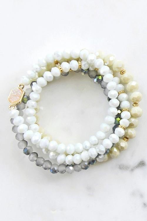 Tara Crystal Bead Bracelet Set White