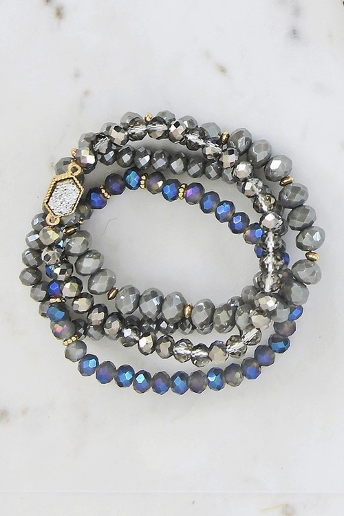 Tara Crystal Bead Bracelet Set Grey