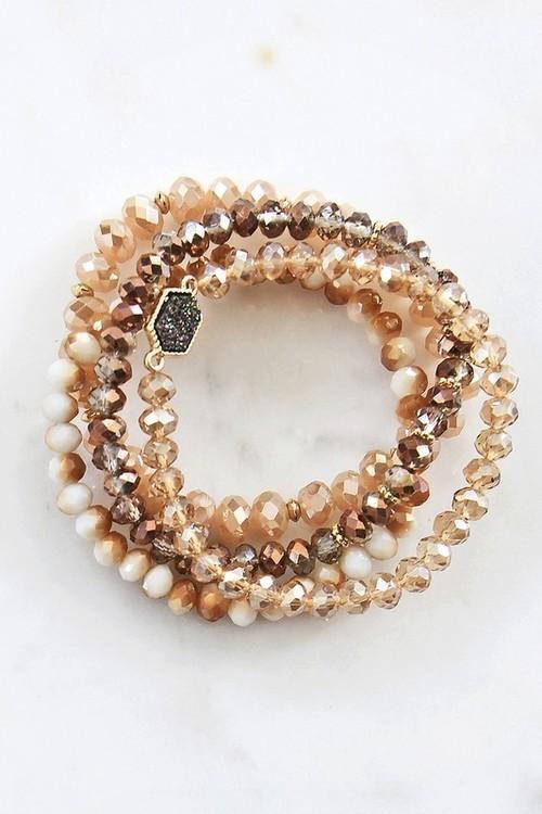 Tara Crystal Bead Bracelet Set Brown