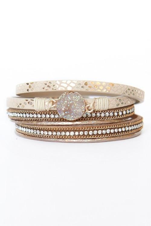 Emily Multi Strand Leather Bracelet Khaki