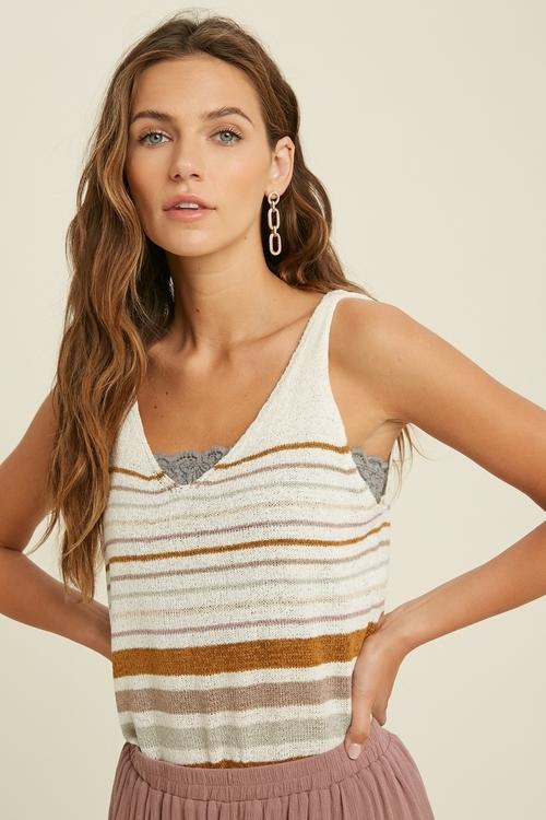 Sleeveless Sweater Stripe Tank Top Cream Multi