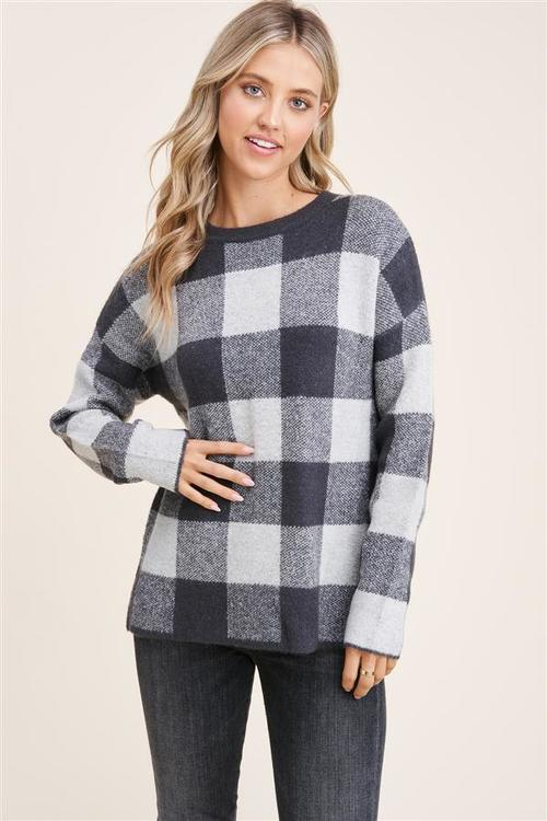 Check Mate Charcoal Sweater