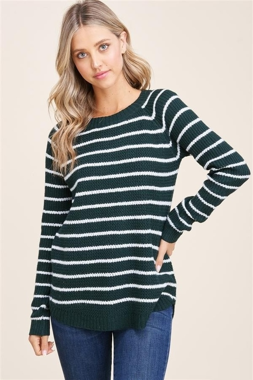 New Favorite Striped Forest Green Pullover