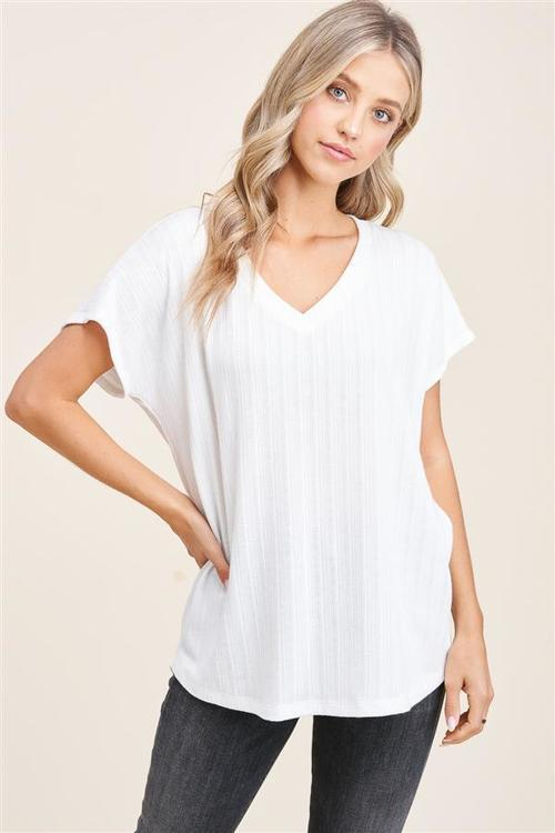 Relaxed All Day Textured V Neck