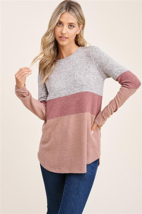Here for It Color Block Taupe Pullover