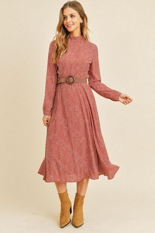 Leyla Long Sleeve Belted Dress Rose