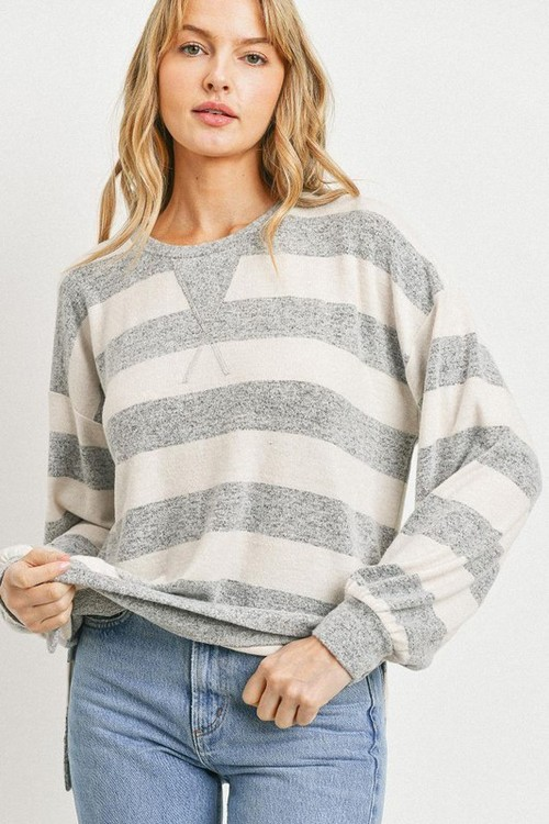Claire Color Block Crew Neck Pullover Ivory Grey