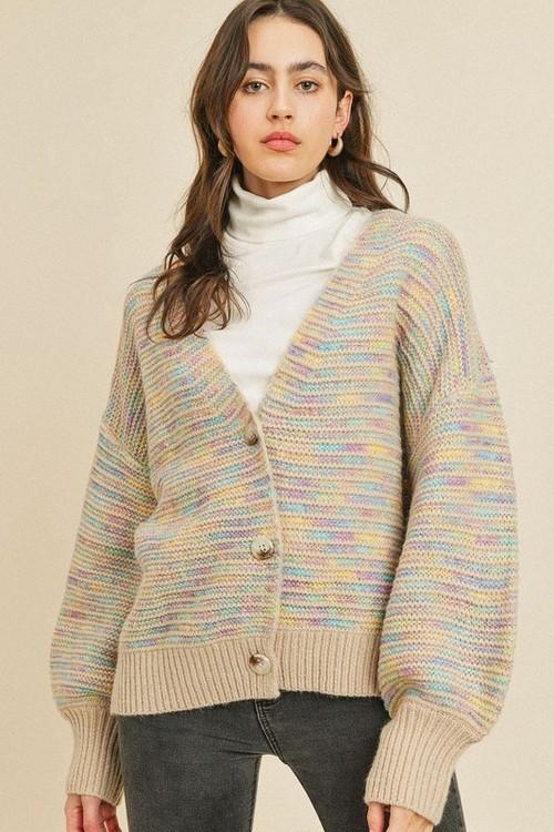 Katherine Textured Button Up Cardigan Taupe Multi