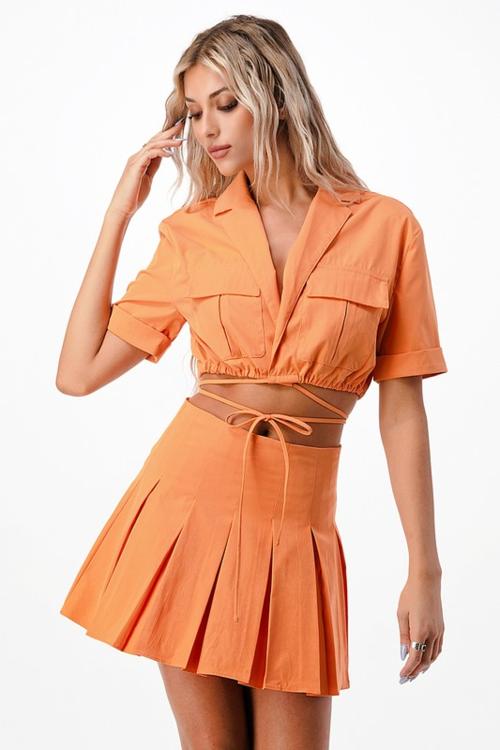Sunset Orange Tennis Skirt