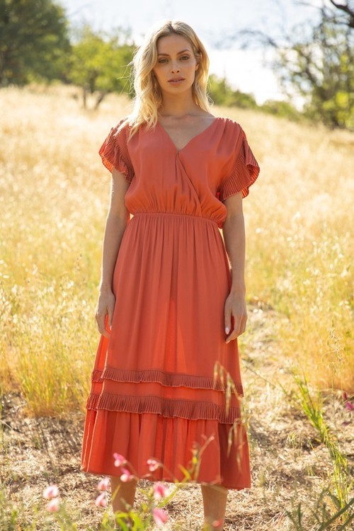 Alaina Ruffle Print Dress Rust