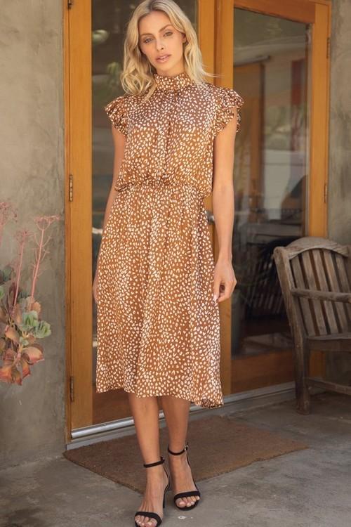 Angelina Print Midi Dress Tan