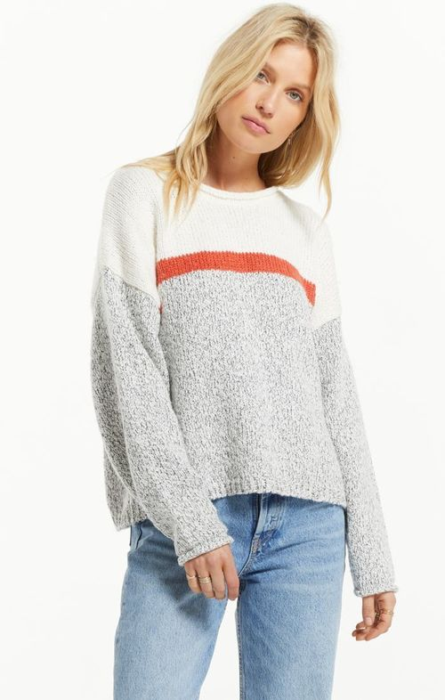 Kennedy Color Block Sweater Pebble