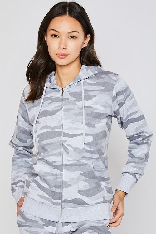 Boyfriend Fleece Camo Zip Up Hoodie Light Grey