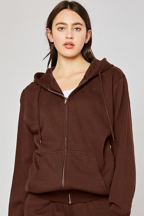 Oversized Fleece Zip Up Jacket Chocolate