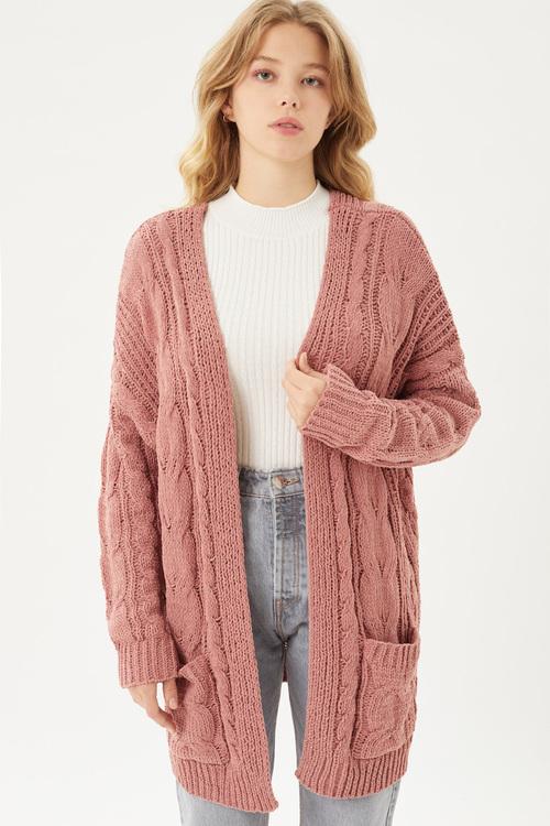 Blanket Soft Cable Knit Cardigan  Mauve
