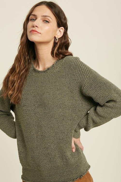 Raw Edge Hem Sweater Olive