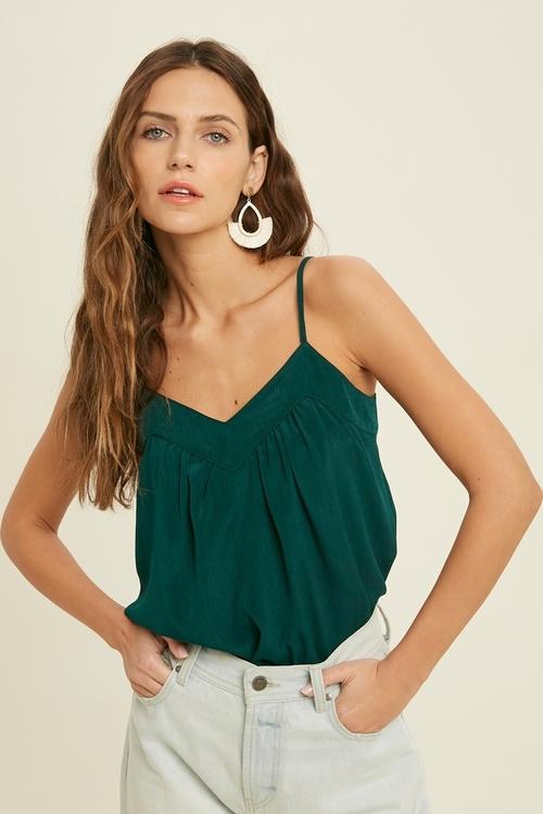 V Neck Textured Cami Top Green