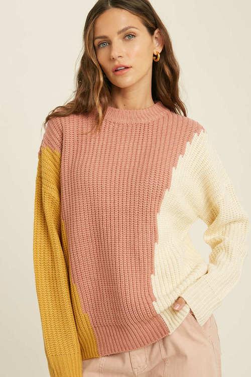Vertical Color Block Sweater Ginger