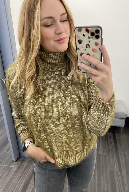 Turtleneck Braided Front Sweater Olive