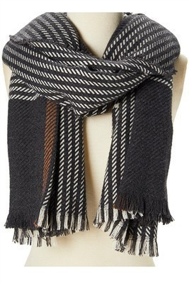 Houndstooth Plaid Scarf Charcoal
