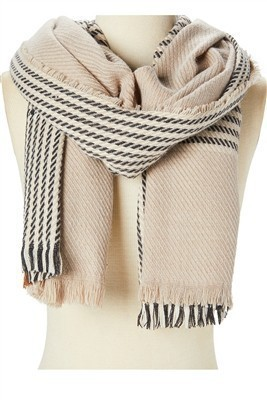 Houndstooth Plaid Scarf Taupe