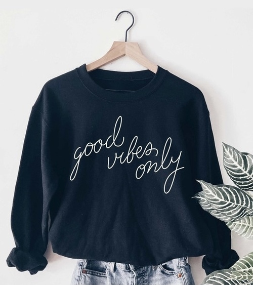 Good Vibes Only Graphic Sweatshirt Navy
