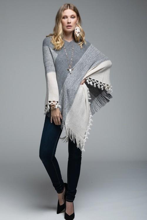 Soft Knit Poncho W/ Tassel Oatmeal