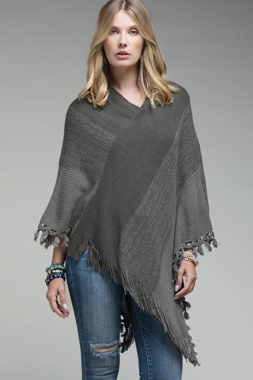 Soft Knit Poncho W/ Tassel Grey OS