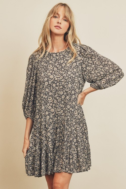 Paisley Floral Bishop Sleeve Dress Charcoal/Taupe