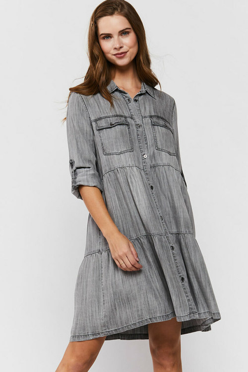 Bree Rolled Tab Sleeve Shirt Light Grey