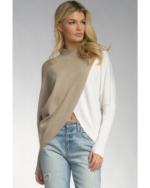 Elan Khaki/ White Color Block Sweater