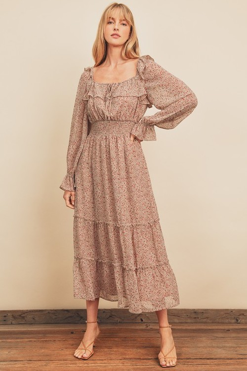 Ditsy Floral Smocked Tiered Dress Rust
