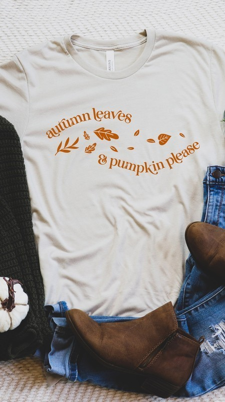Autumn Leaves and Pumpkins Please Graphic Tee Cream