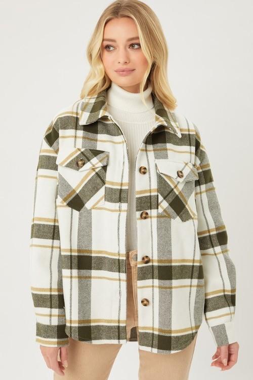 Boyfriend Button Up Flannel Olive