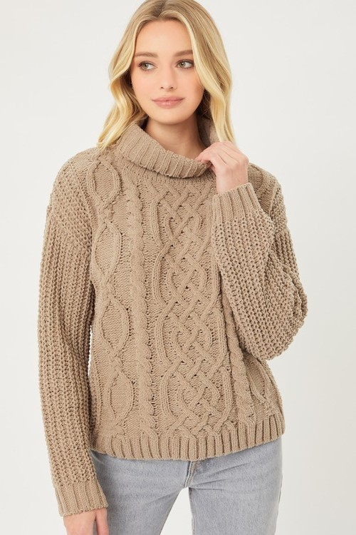 Ultimate Chenille Cabled Sweater Truffle