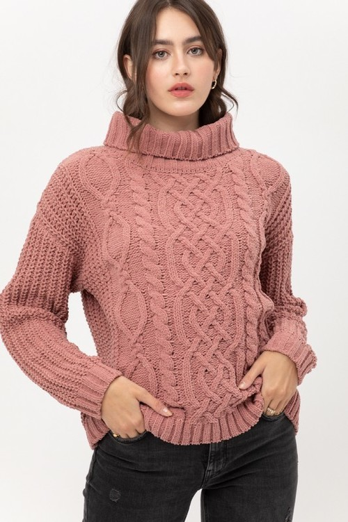 Ultimate Chenille Cabled Sweater Mauve