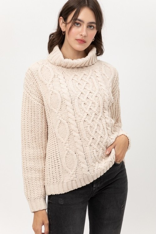 Ultimate Chenille Cabled Sweater Butter