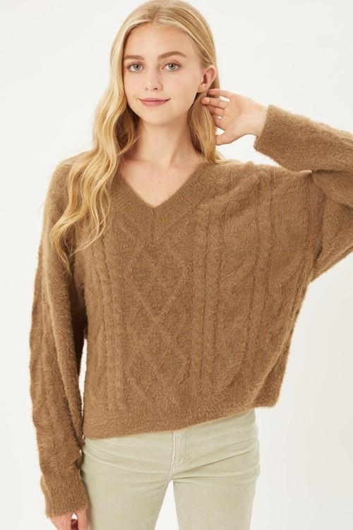 Alice V Neck Sweater Coco Brown