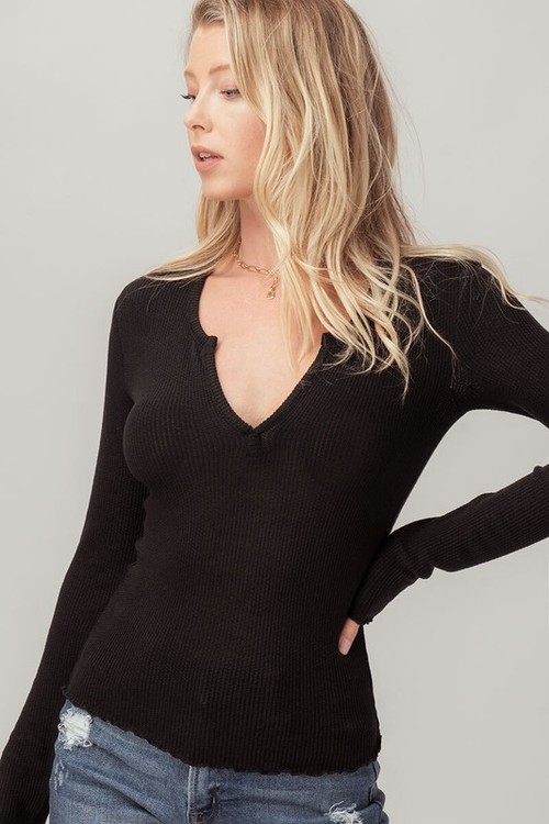 Thermal Notched Neck Top Black