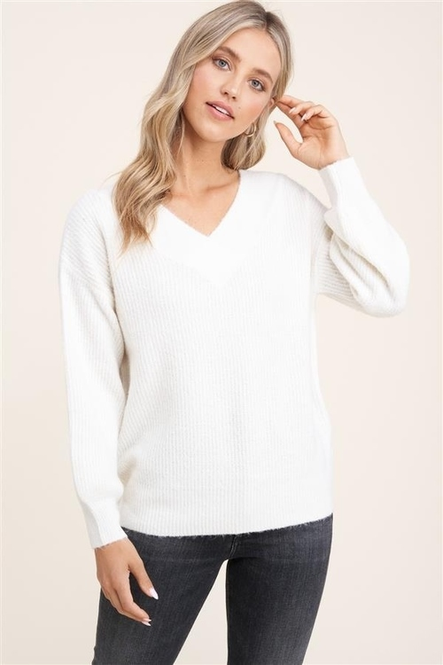Double V Neck Balloon Sleeve Sweater Ivory